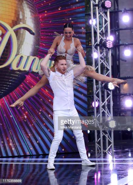 Neil Jones and Katya Jones attend the Strictly Come Dancing launch show red carpet at Television Centre on August 26 2019 in London England