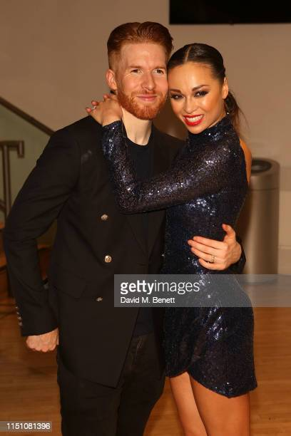 Neil Jones and Katya Jones attend their press night after party for Somnium A Dancer's Dream at Sadler's Wells Theatre on June 20 2019 in London...