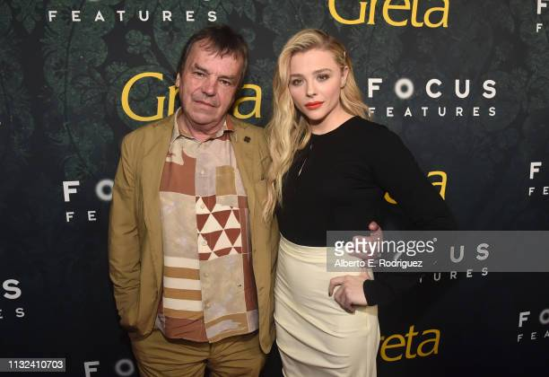 """Neil Jordan and Chloe Grace Moretz attends the premiere of Focus Features' """"Greta"""" at ArcLight Hollywood on February 26, 2019 in Hollywood,..."""