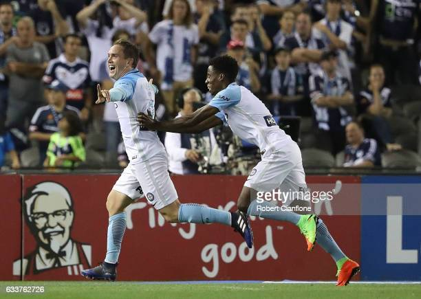 Neil Kilkenny of Melbourne City celebrates after scoring a goal during the round 18 ALeague match between Melbourne Victory and Melbourne City FC at...