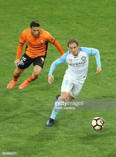 Neil Kilkenny of Melbourne City chases the ball during the round 19 ALeague match between Melbourne City FC and the Brisbane Roar at AAMI Park on...