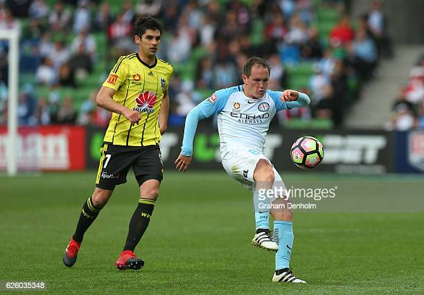 Neil Kilkenny of Melbourne City controls the ball during the round eight ALeague match between Melbourne City and Wellington Phoenix at AAMI Park on...