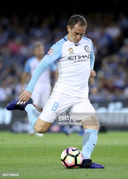 Neil Kilkenny of Melbourne City kicks the ball during the round 18 ALeague match between Melbourne Victory and Melbourne City FC at Etihad Stadium on...