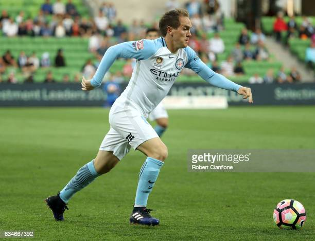 Neil Kilkenny of Melbourne City runs with the ball during the round 19 ALeague match between Melbourne City FC and the Brisbane Roar at AAMI Park on...