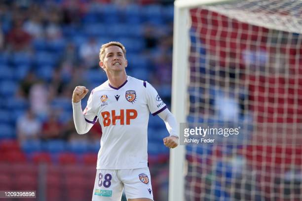 Neil Kilkenny of Perth Glory celebrates his goal during the round 21 A-League match between the Newcastle Jets and the Perth Glory at McDonald Jones...