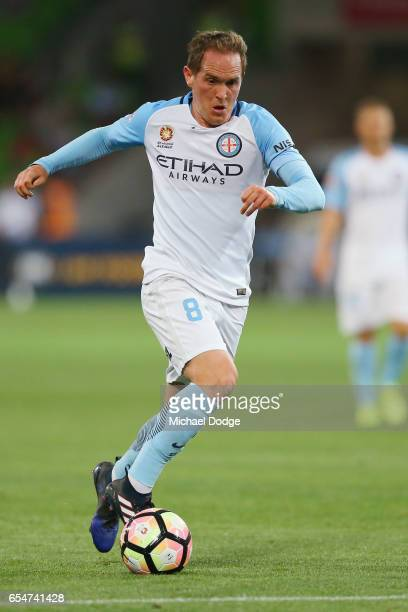 Neil Kilkenny of the City runs with the ball during the round 23 ALeague match between Melbourne City FC and the Newcastle Jets at AAMI Park on March...