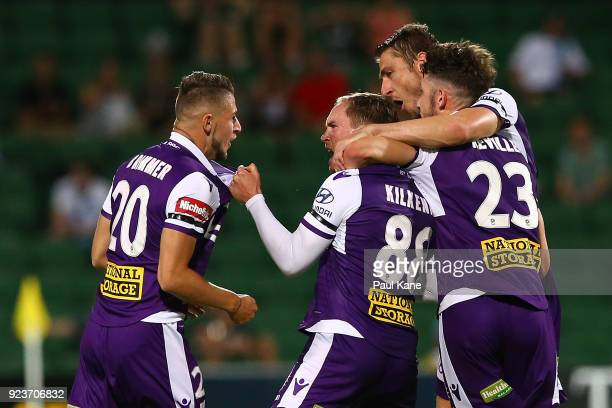 Neil Kilkenny of the Glory celebrates a goal during the round 21 ALeague match between the Perth Glory and Melbourne City FC at nib Stadium on...