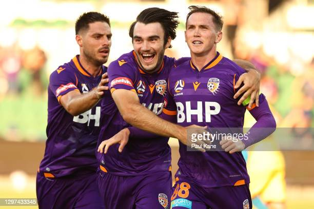 Neil Kilkenny of the Glory celebrates a goal with Bruno Fornaroli and Nick D'Agostino during the A-League match between the Perth Glory and Adelaide...