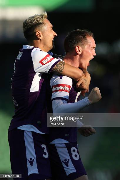 Neil Kilkenny of the Glory celebrates a goal with Jason Davidson during the round 16 ALeague match between the Perth Glory and the Newcastle Jets at...