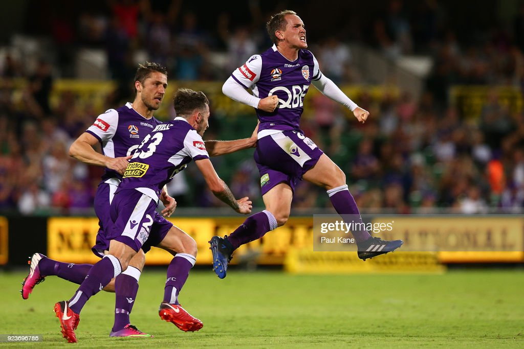 Neil Kilkenny of the Glory celebrates after scoring a goal during the round 21 A-League match between the Perth Glory and Melbourne City FC at nib Stadium on February 24, 2018 in Perth, Australia.