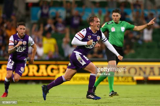 Neil Kilkenny of the Glory celebrates after scoring a goal during the round 21 ALeague match between the Perth Glory and Melbourne City FC at nib...