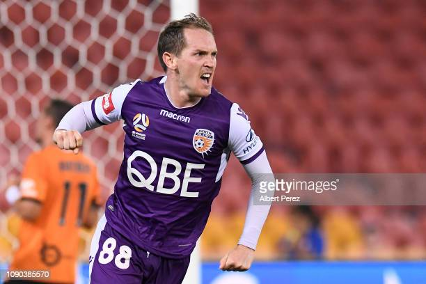 Neil Kilkenny of the Glory celebrates scoring his team's first goal during the round 11 ALeague match between the Brisbane Roar and the Perth Glory...