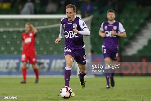 Neil Kilkenny of the Glory controls the ball during the round 15 ALeague match between the Perth Glory and Adelaide United at HBF Park on January 23...