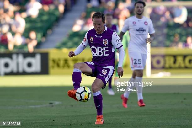 Neil Kilkenny of the Glory controls the ball during the round 18 ALeague match between the Perth Glory and the Western Sydney Wanderers at nib...