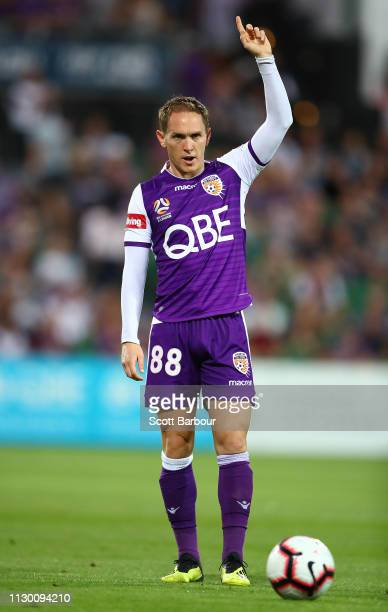 Neil Kilkenny of the Glory controls the ball during the round 19 ALeague match between the Perth Glory and the Brisbane Roar at HBF Park on February...