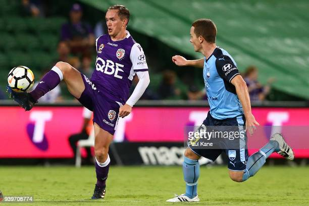 Neil Kilkenny of the Glory traps the ball during the round 25 ALeague match between the Perth Glory and Sydney FC at nib Stadium on March 29 2018 in...
