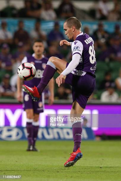 Neil Kilkenny of the Glory traps the ball during the round 27 ALeague match between the Perth Glory and Wellington Phoenix at HBF Park on April 28...