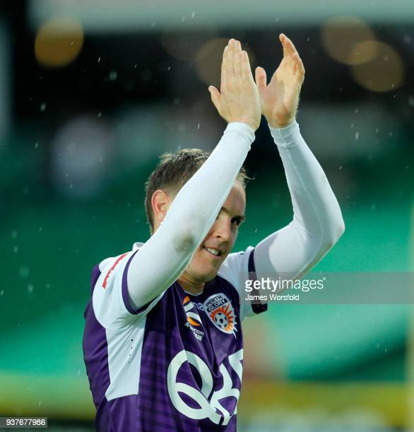 Neil Kilkenny Salutes to the crowd after the Perth Glory win during the round 24 ALeague match between the Perth Glory and the Melbourne Victory at...