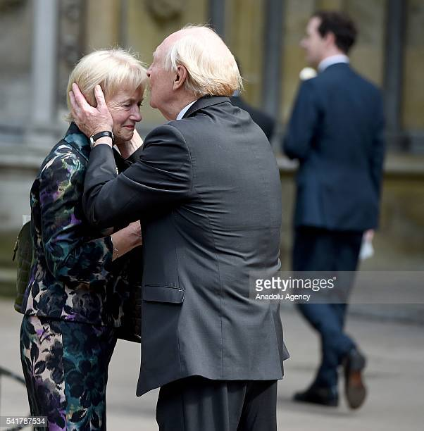 Neil Kinnock and Glenys Kinnock Baroness Kinnock of Holyhead leave following the remembrance service for Jo Cox at St Margaret's church in...