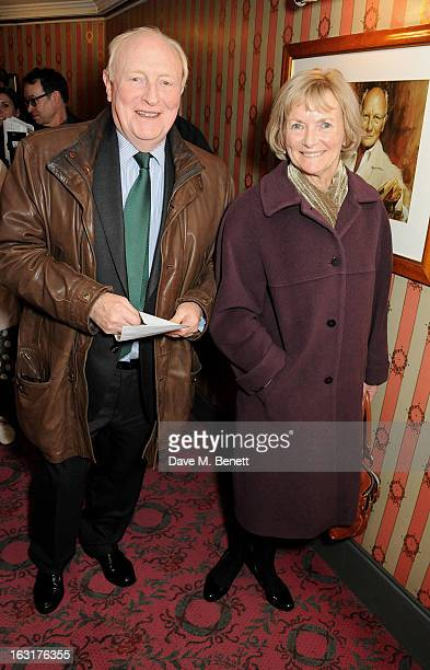 Neil Kinnock and Glenys Kinnock pose in the foyer following the press night performance of 'The Audience' at the Gielgud Theatre on March 5 2013 in...