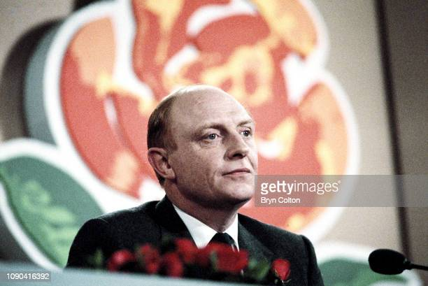 Neil Kinnock, leader of the Labour Party and member of Parliament, speaks at the Welsh Labour Party conference during the 1987 general election...