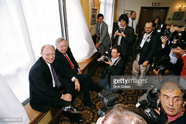 Neil Kinnock leader of the Labour Party and member of Parliament left sits with Roy Hattersley deputy leader of the Labour Party and member of...