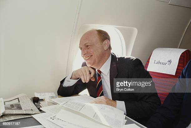 Neil Kinnock UK Labour Party leader pauses whilst onboard his aircraft as he travelled across the country during the 1987 general election campaign...