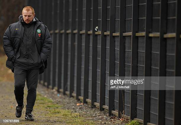 Neil Lennon coach of Celtic arrives at the club's Barrowfield training ground on March 4 2011 in Glasgow Scotland The club have accepted a reduced...