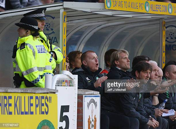 Neil Lennon coach of Celtic in the dug out during the Clydesdale Bank Premier League match between Kilmarnock and Celtic at Rugby Park on April 20...