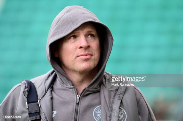 Neil Lennon Interim manager of Celtic arrives at the stadium prior to the Scottish Cup quarter final match between Hibernian and Celtic at Easter...