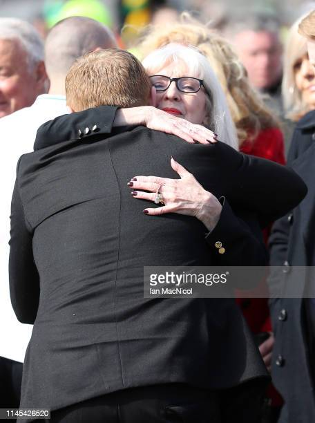 Neil Lennon Interim manager of Celtic embraces Liz McNeill as tributes are made to Celtic Legend Billy McNeill prior to the Ladbrokes Scottish...