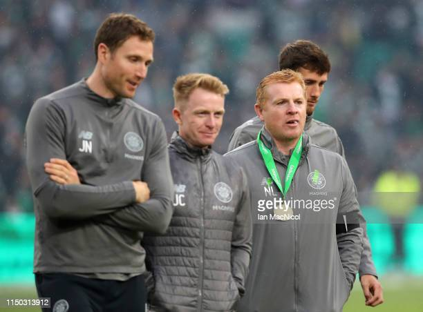 Neil Lennon Interim manager of Celtic looks on after the Ladbrokes Scottish Premiership match between Celtic and Hearts at Celtic Park on May 19 2019...