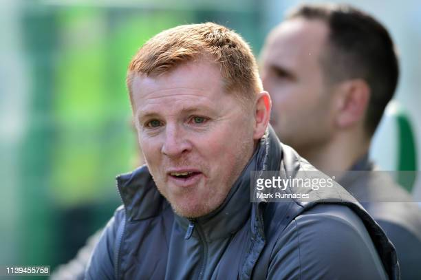 Neil Lennon Interim manager of Celtic looks on ahead of the Ladbrokes Scottish Premiership match between Celtic and Rangers at Celtic Park on March...