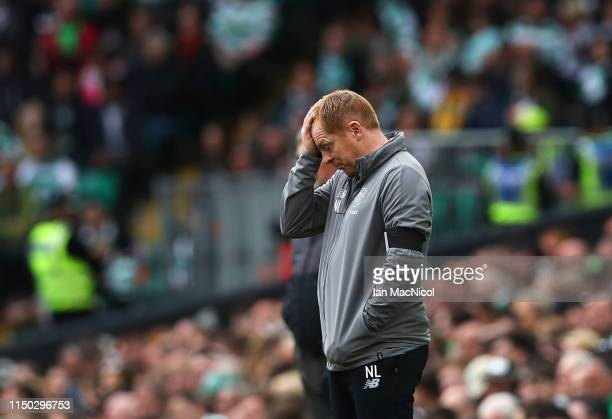 Neil Lennon Interim manager of Celtic reacts during the Ladbrokes Scottish Premiership match between Celtic and Hearts at Celtic Park on May 19 2019...