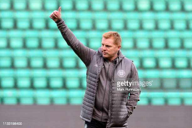 Neil Lennon Interim manager of Celtic takes a look around the pitch prior to the Scottish Cup quarter final match between Hibernian and Celtic at...