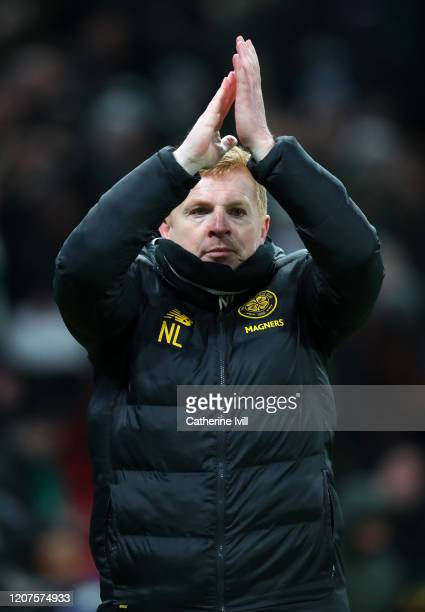 Neil Lennon, Manager of Celtic acknowledges the fans after the UEFA Europa League round of 32 first leg match between FC Kobenhavn and Celtic FC at...