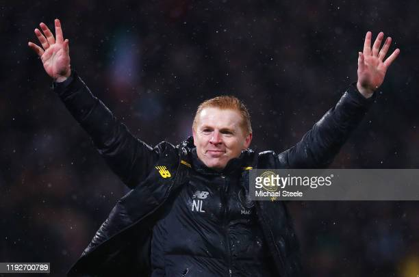 Neil Lennon, Manager of Celtic celebrates his team's victory after the Betfred Cup Final between Rangers FC and Celtic FC at Hampden Park on December...