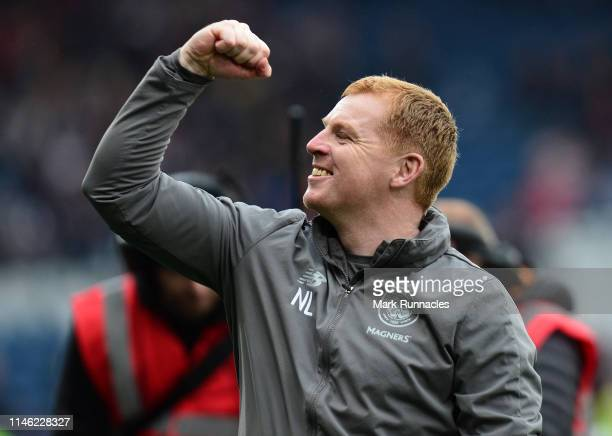 Neil Lennon manager of Celtic celebrates winning the Scottish Cup at the final whistle during the Scottish Cup Final between Heart of Midlothian FC...