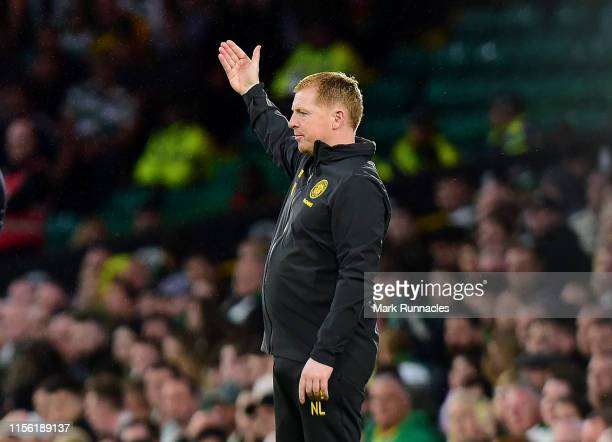 Neil Lennon manager of Celtic gestures during the UEFA Champions League First Qualifying Round 2nd Leg match between Celtic and FC Sarajevo at Celtic...