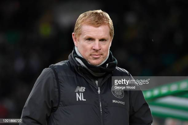 Neil Lennon manager of Celtic looks on ahead of the Ladbrokes Premiership match between Celtic and Ross County at Celtic Park on January 25 2020 in...