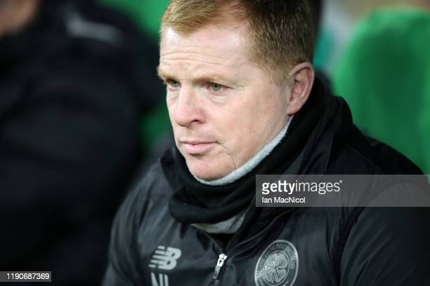 Neil Lennon Manager of Celtic looks on during the UEFA Europa League group E match between Celtic FC and Stade Rennes at Celtic Park on November 28...