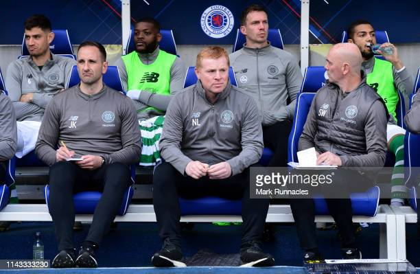 Neil Lennon manager of Celtic looks on from the dugout during the Ladbrokes Scottish Premiership match between Rangers and Celtic at Ibrox Stadium on...