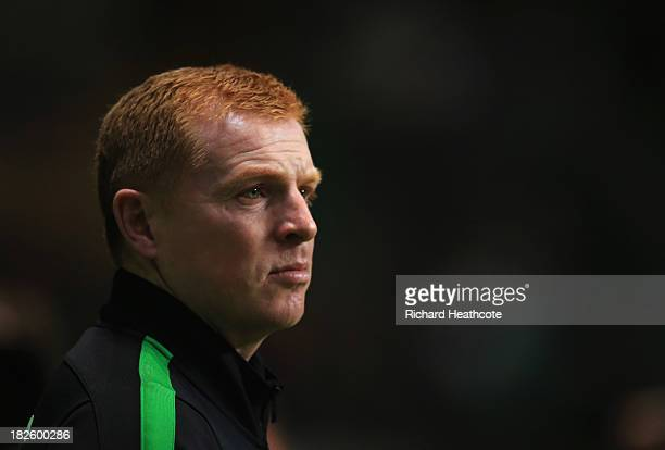 Neil Lennon manager of Celtic looks on prior to the UEFA Champions League Group H match between Celtic and FC Barcelona at Celtic Park Stadium on...