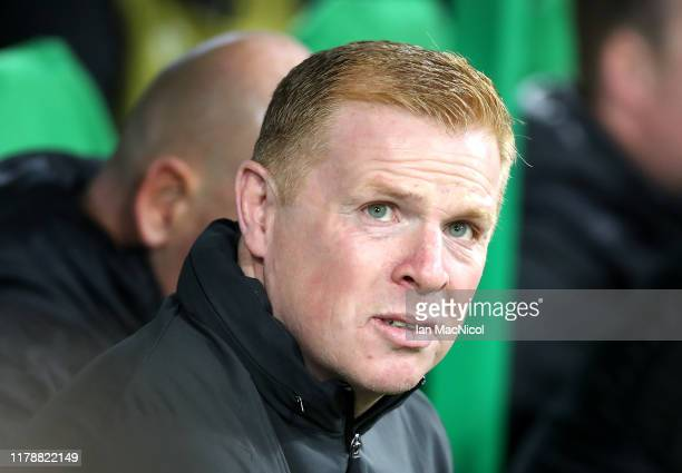 Neil Lennon Manager of Celtic looks on prior to the UEFA Europa League group E match between Celtic FC and CFR Cluj at Celtic Park on October 03 2019...