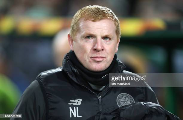 Neil Lennon Manager of Celtic looks on prior to the UEFA Europa League group E match between Celtic FC and Lazio Roma at Celtic Park on October 24...