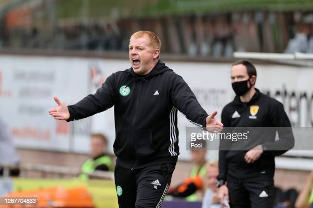 Neil Lennon Manager of Celtic reacts during the Ladbrokes Scottish Premiership match between Dundee United and Celtic at Tannadice Park on August 22...