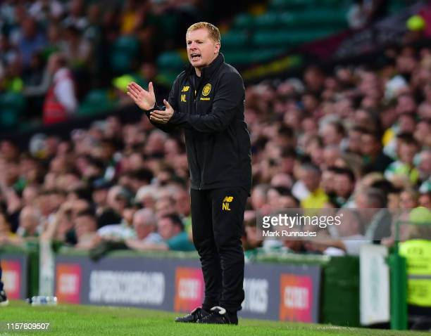 Neil Lennon manger of Celtic gestures from the touch line during the UEFA Champions League Second Qualifying round 1st Leg match between Celtic v...