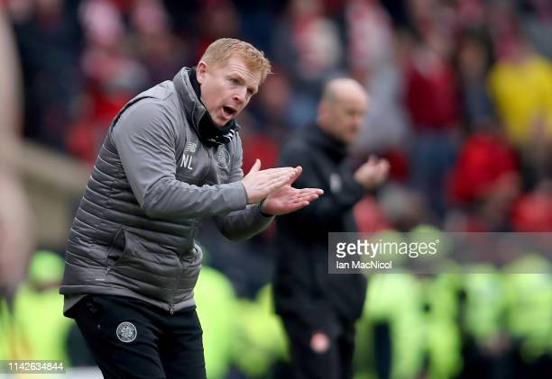 Neil Lennon the Celtic manager during the Scottish Cup semifinal between Aberdeen and Celtic at Hampden Park on April 14 2019 in Glasgow Scotland