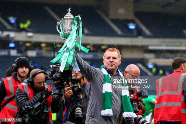 Neil Lennon the head coach / manager of Celtic with the William Hill Scottish Cup during the William Hill Scottish Cup final between Heart of...