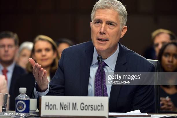 Neil M Gorsuch testifies before the Senate Judiciary Committee on his nomination to be an associate justice of the US Supreme Court during a hearing...